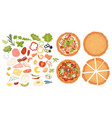 designer for pizza design pizza set making pizza vector image vector image