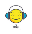 dj emoji line icon sign on vector image