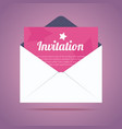 Envelope with invitation card and star shapes vector image vector image