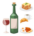 european tasty food cuisine dinner food showing vector image vector image