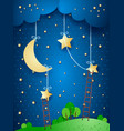 fantasy landscape by night vector image vector image