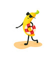 funny banana in sunglasses walking on the beach vector image