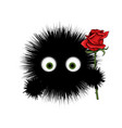 furry monster round cartoon prickly character vector image vector image