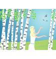 girl walks between birches birds fly over vector image vector image