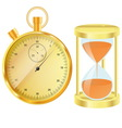 Gold stopwatch and hourglass vector image vector image