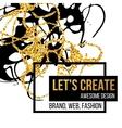 Golden hand-drawn design elements vector image vector image
