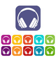 headphone icons set flat vector image vector image