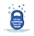 Kettlebell symbol with a quote vector image vector image