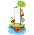Many animals and whiteboard on island vector image vector image