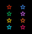 neon stars on a black background vector image vector image