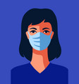 nurse in protective medical mask vector image