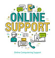online computering support - round concept vector image vector image