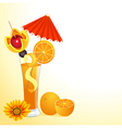 orange juice in a glass with a flower vector image