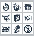 organic food icons set vector image
