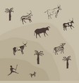 painting of hunting scene on a cave wall bison vector image