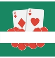 poker background with playing cards and chips vector image