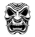 samurai warrior mask bw version vector image vector image