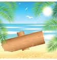 Sand beach with the palm branches vector image vector image