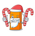 santa with candy package juice mascot cartoon vector image vector image