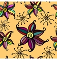 Seamless doodle flower background vector image