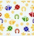Seamless texture symbols for luck Piggy cloverleaf vector image vector image