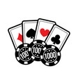 set casino card and poker chips for casino games vector image vector image