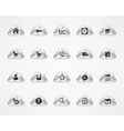 Set of web and commercial icons on metallic clouds vector image