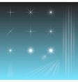 set sky star sun rays vector image