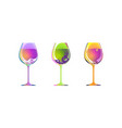 set three wine glass isolated cocktail kit vector image