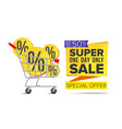 shopping cart with big sale banner up to vector image