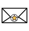 silhouette envelope with star sticker vector image vector image