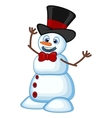 Snowman wearing a hat and a bow ties for your desi vector image