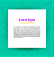 street signs paper template vector image vector image