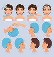 surgeon hands and woman plastic surgery icons vector image