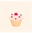 Sweet cupcake on white polka dots pink background vector image