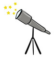telescope with yellow stars on white background vector image vector image