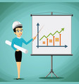 woman engineer showing on the board a graph of vector image vector image