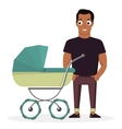 Young father with a baby carriage on the vector image vector image