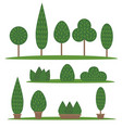 garden and park set cartoon trees and bushes vector image