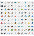 100 assembly icons set isometric 3d style vector image