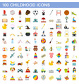 100 childhood icons set flat style vector image vector image
