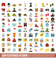 100 clothes icons set flat style vector image