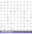 100 time icons set outline style vector image