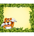 A green frame with a tiger inside vector image vector image