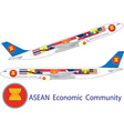 Asean Economic community On Airbus A330 vector image