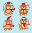 bears brown stickers in christmas hats santa claus vector image