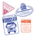 boat and bus and airplane travel stamps greece vector image