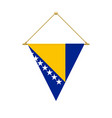 bosnia herzegovina triangle flag hanging vector image