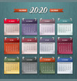 calendar template 2020 vector image vector image
