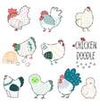 chicken in farm line doodle vector image vector image